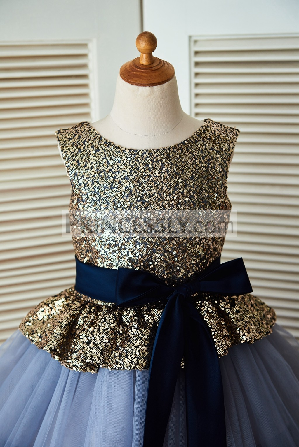 Gold Sequin Blue Cupcake Tulle Flower Girl Dress with Navy Blue Belt
