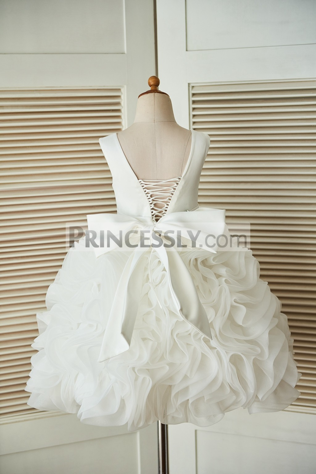 Lace-up V back Ivory Satin Organza Rosette Ball Gown Flower Girl ...