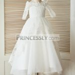 2827899f3f1 Lace-up V back Ivory Satin Organza Rosette Ball Gown Flower Girl Dress with  Belt   Bow
