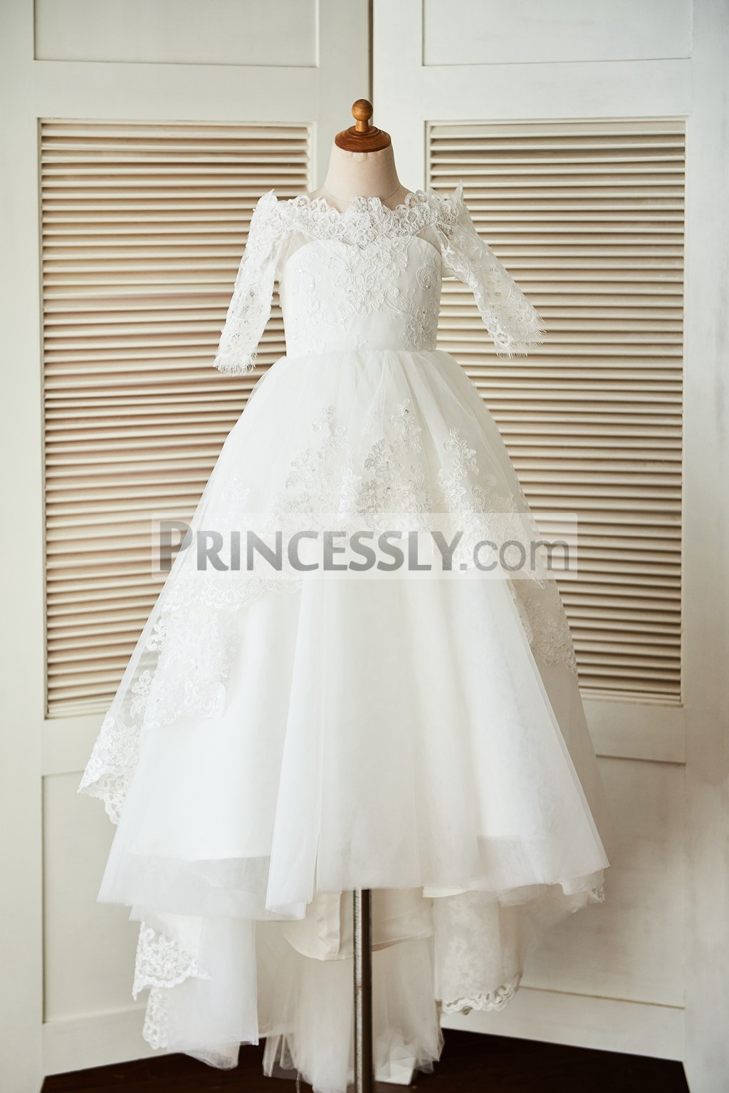 Off shoulder long sleeves beaded lace tulle high low for Flower girls wedding dress