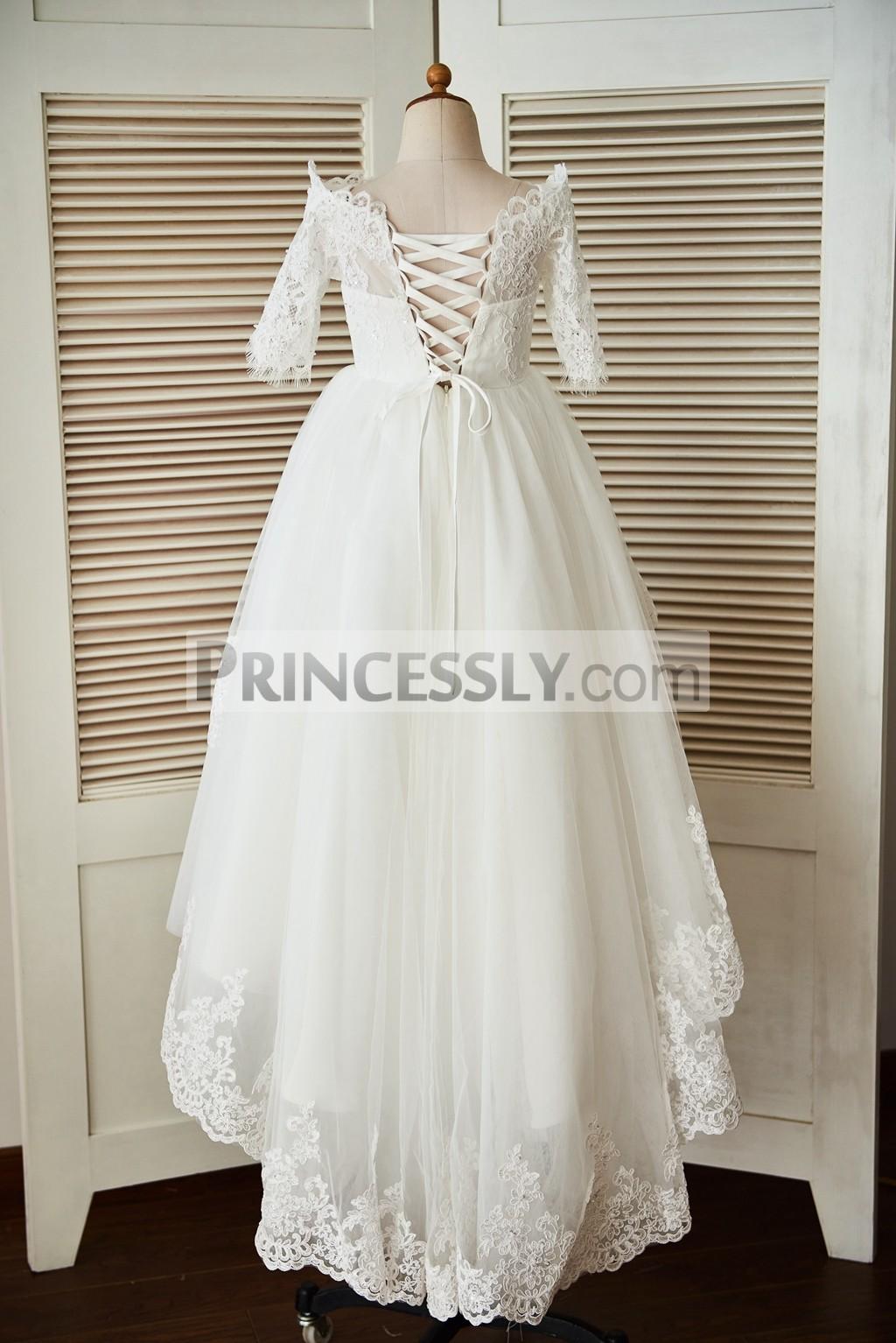 Lace-up back tulle wedding baby girl dress