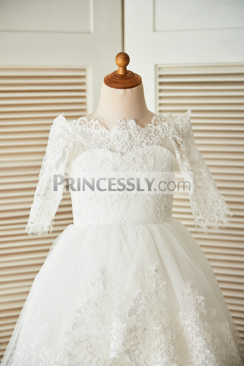 Off shoulder scalloped straight neckline beaded lace bodice