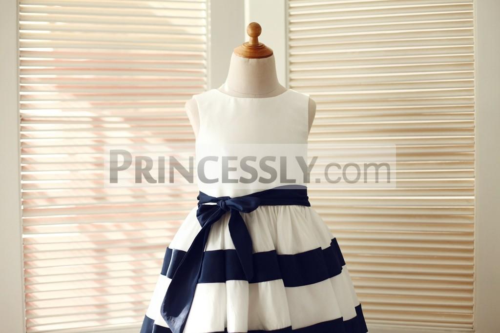 dbef298f0e4 Ivory taffeta wedding baby girl dress with keyhole back. Scoop neckline and  sleeveless panel ivory bodice with navy blue sash