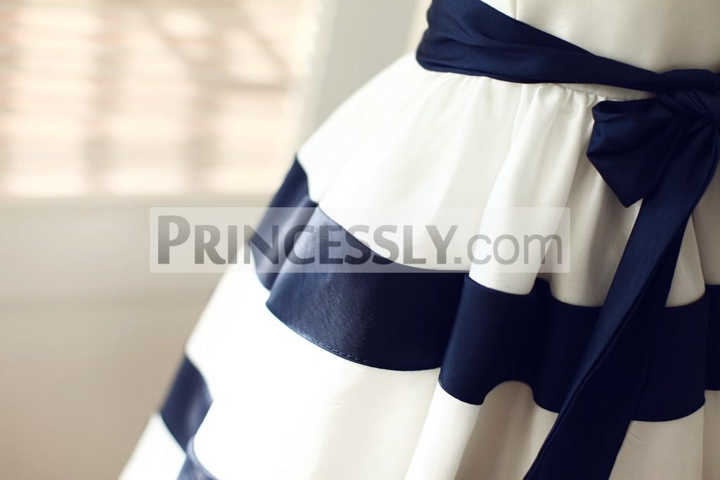 903142c71a0 Ivory   Navy Blue Taffeta Stripe Wedding Flower Girl Dress with Sash ...