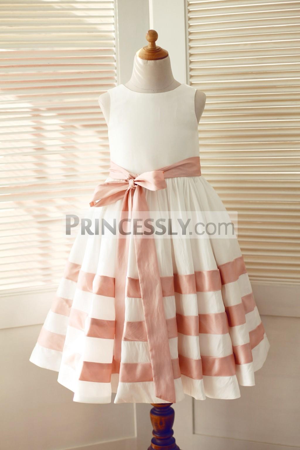 Ivory pink taffeta stripe wedding flower girl dress with sash ivory taffeta flower girl dress with pink stripes mightylinksfo