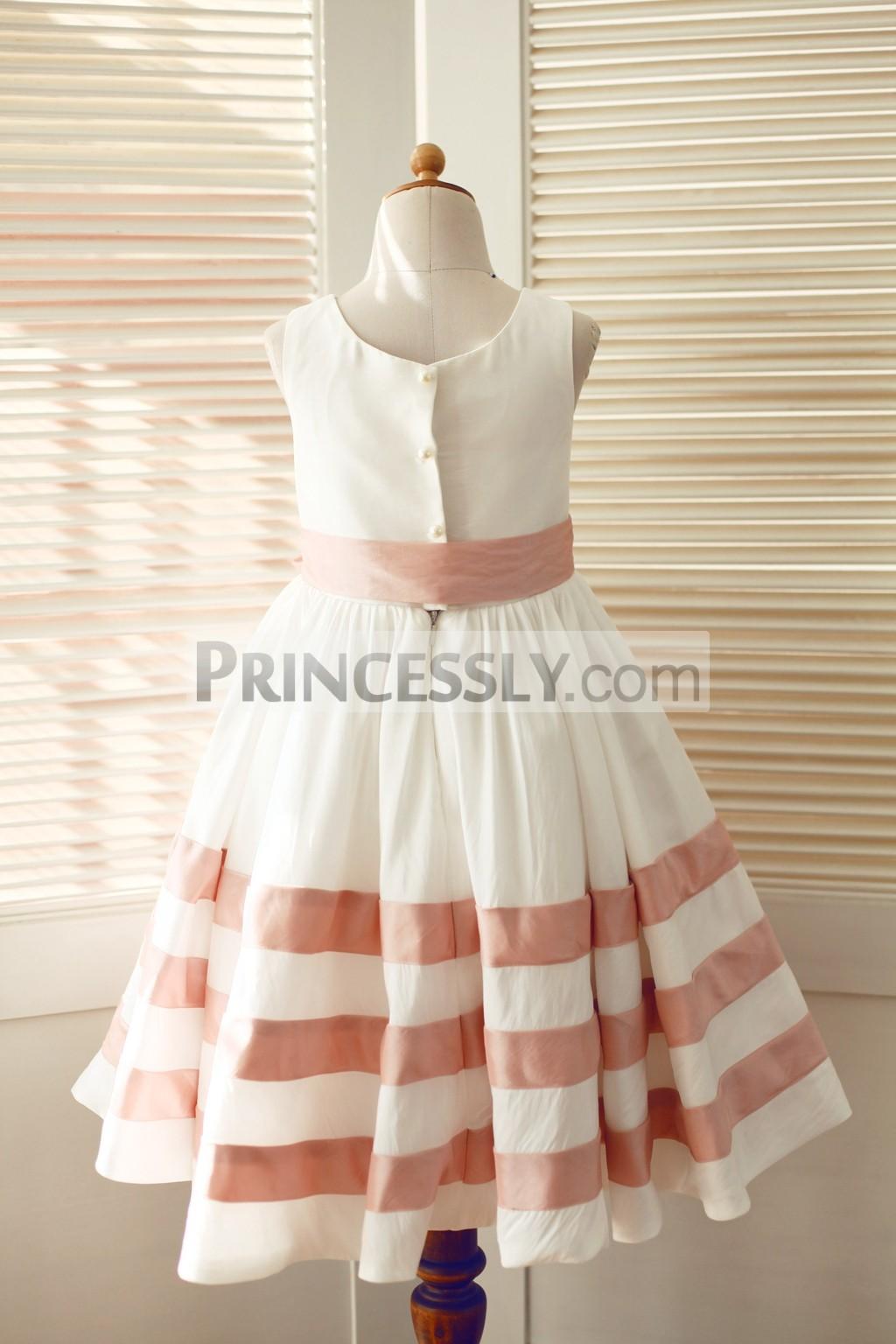 Ivory Pink Taffeta Stripe Wedding Flower Girl Dress With Sash