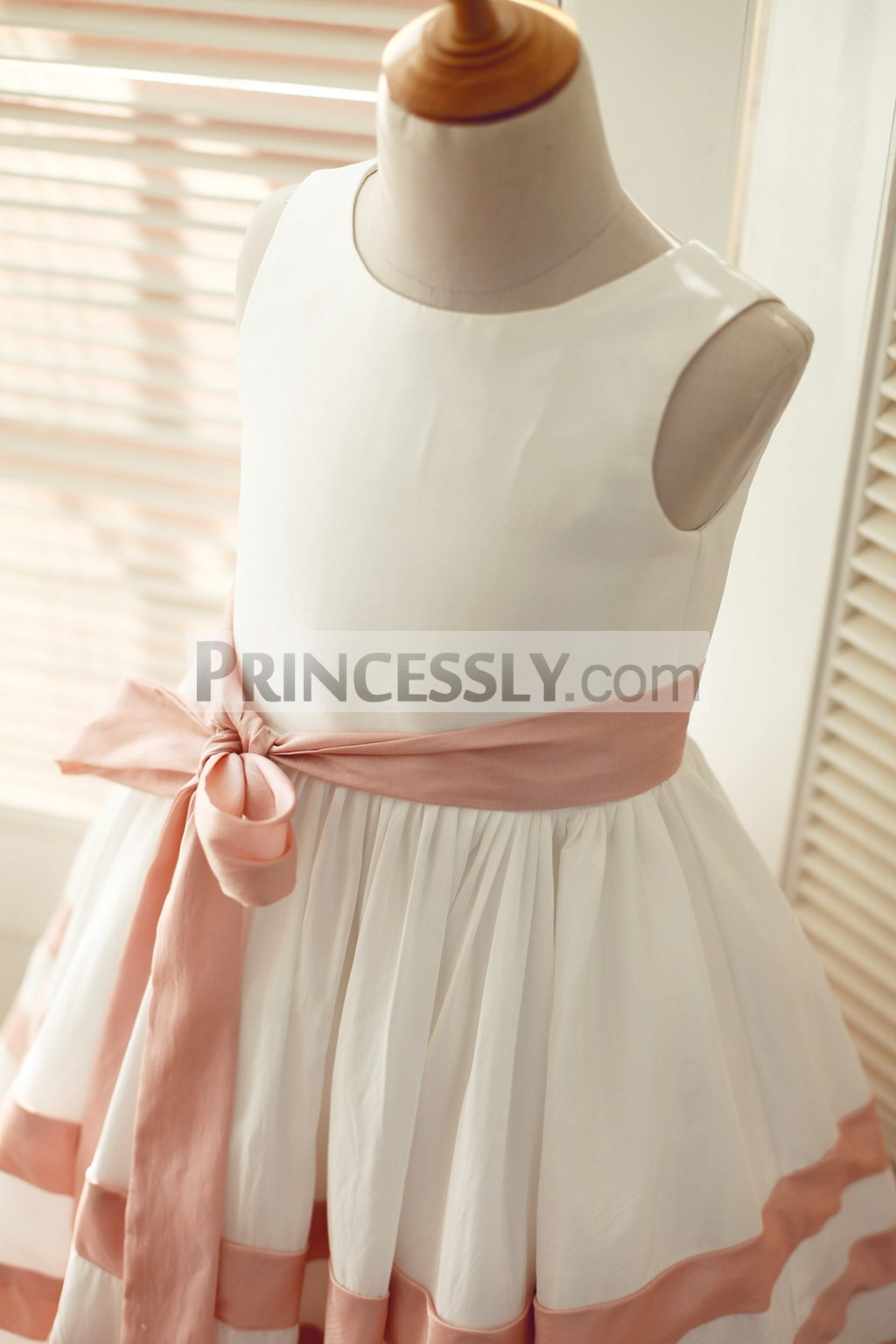 Ivory Pink Taffeta Stripe Wedding Flower Girl Dress with Sash