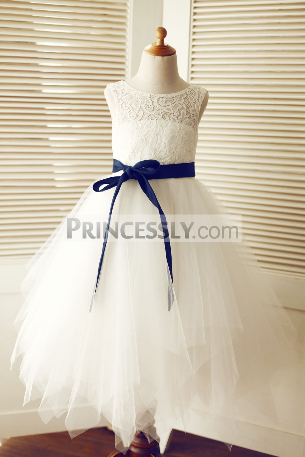 Ivory Navy Blue Flower Girl Dresses Wedding Dresses