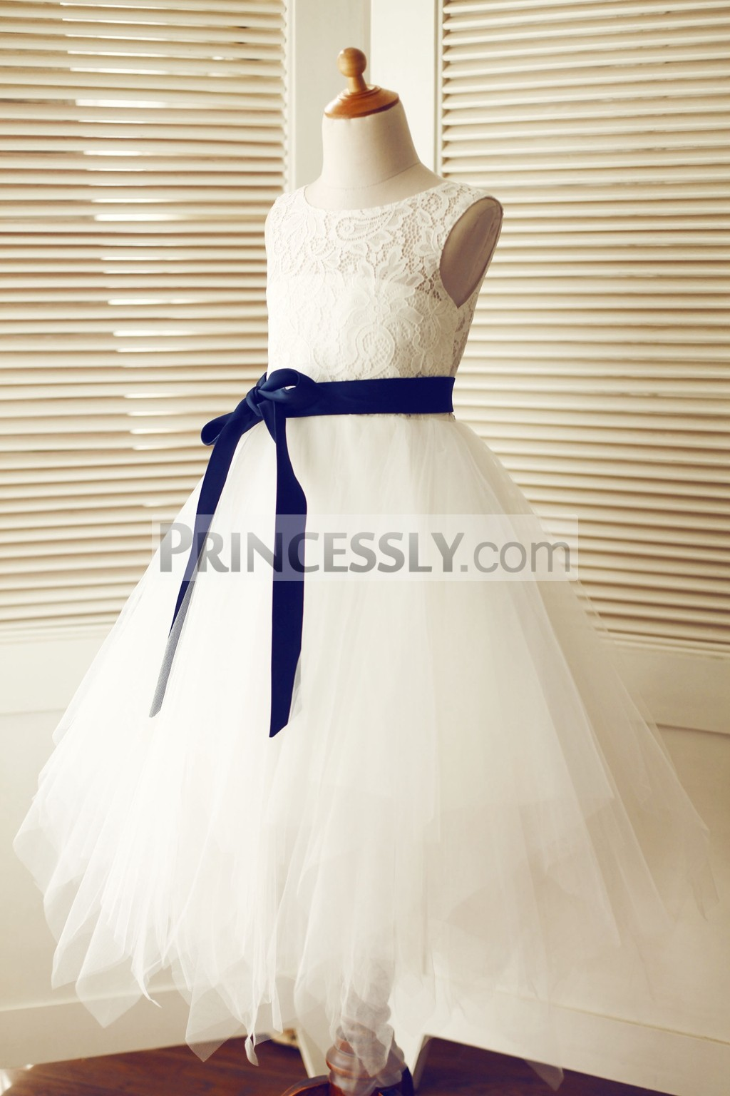 Keyhole ivory lace tulle uneven hem flower girl dress for Blue sash for wedding dress