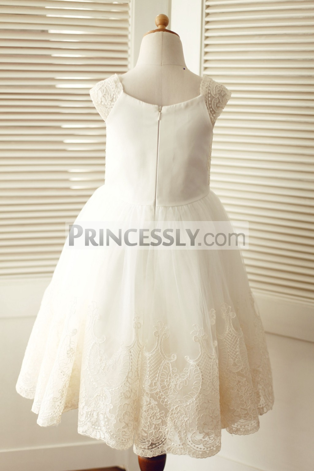 Cap sleeves champagne lace ivory tulle wedding flower girl for Lace flower wedding dress