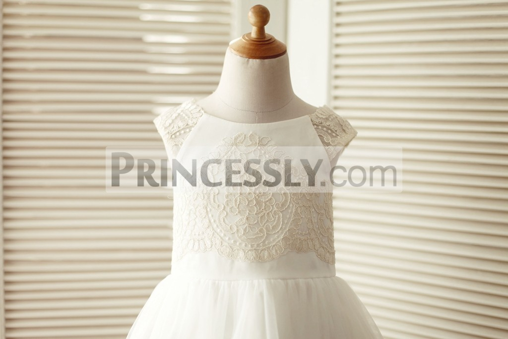 c3bf87ce4f1 ... girl dress for wedding. Champagne lace ivory satin bodice with sheer cap  sleeves shoulder