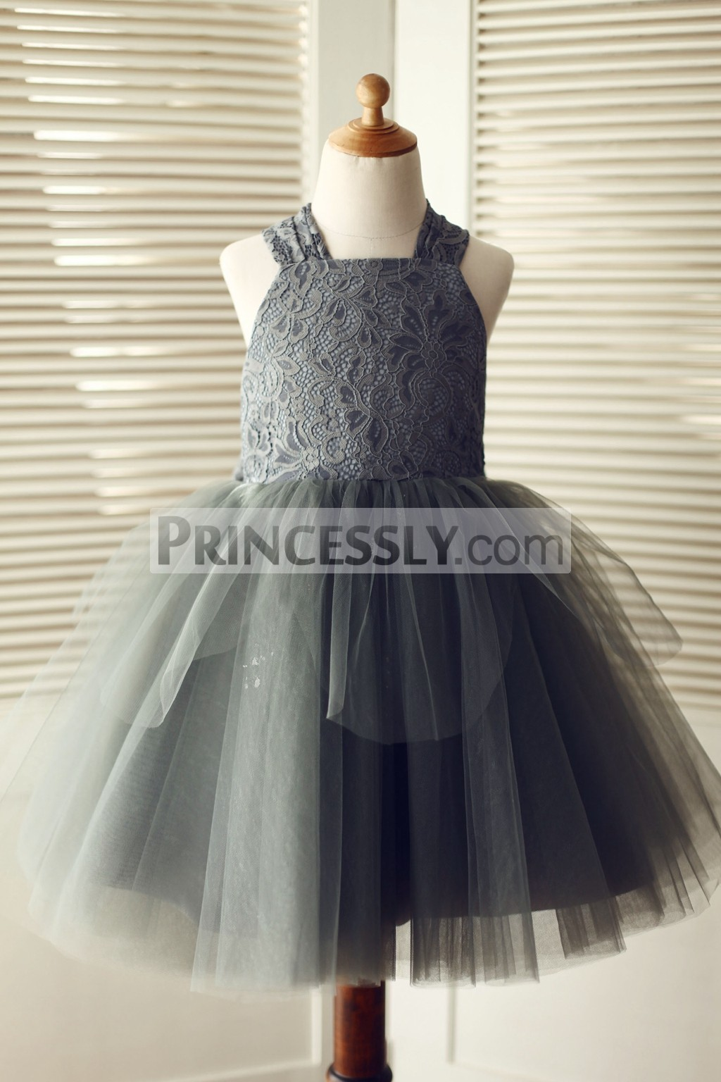 Gray Lace Overlay Tulle TUTU Flower Girl Dress with Bow