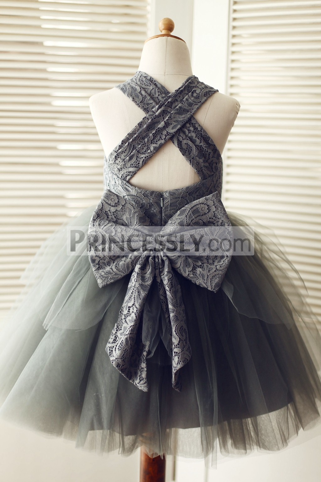 65eb237b38c Gray Lace Cross Backless Overlay Tulle TUTU Flower Girl Dress with ...