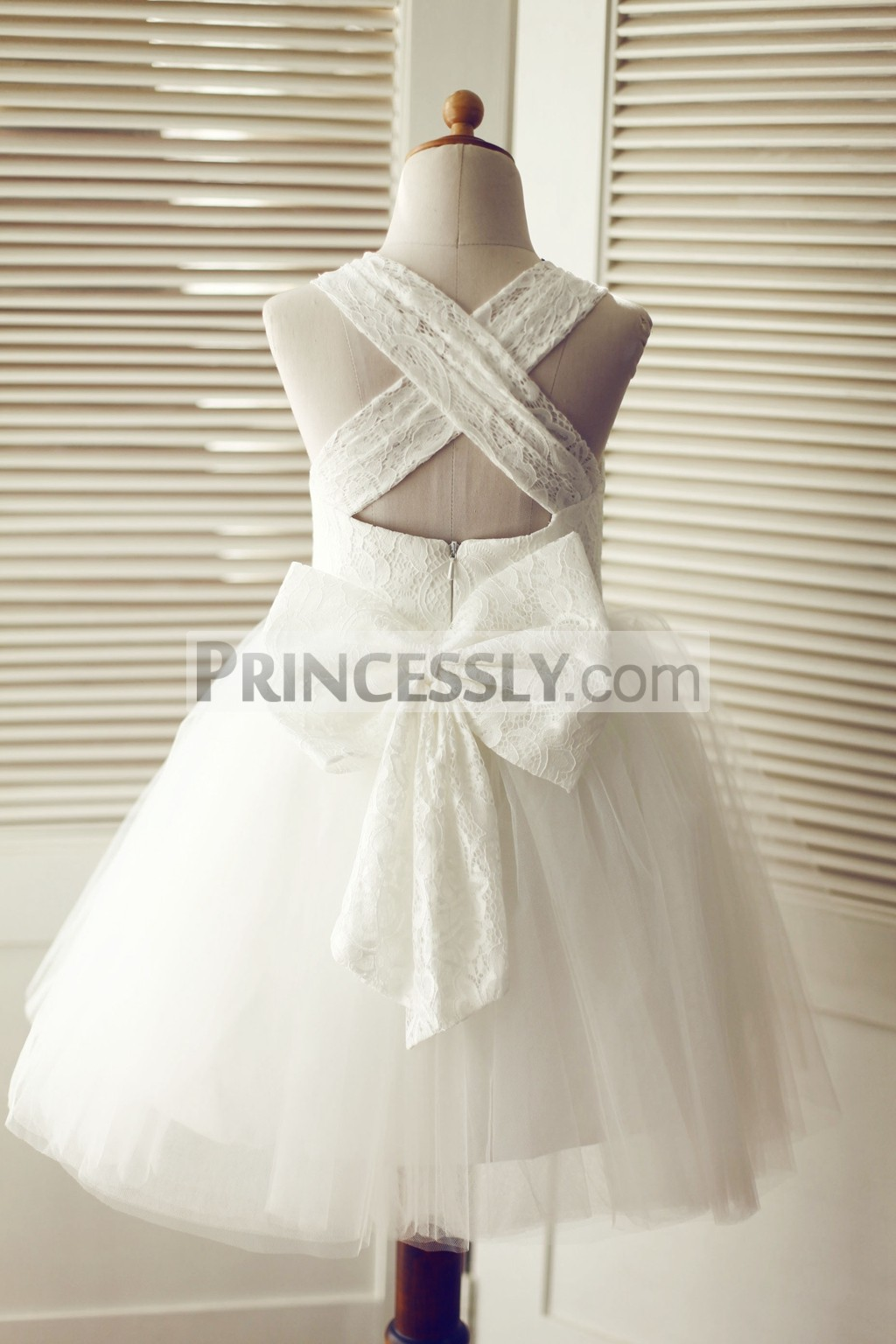 8987f1c12f0a Cross Backless Ivory Lace Tulle Wedding Flower Girl Dress with Big ...