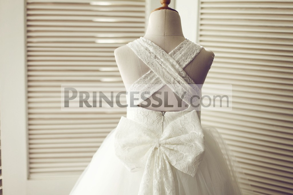 b88aae30e16 Cross Backless Ivory Lace Tulle Wedding Flower Girl Dress with Big ...