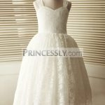 5162b4ca6ae Lace-up V back Ivory Satin Organza Rosette Ball Gown Flower Girl ...