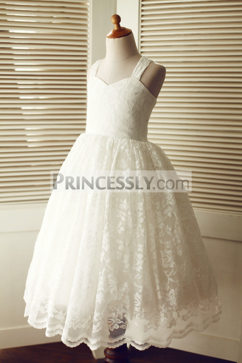 Ivory floral lace princess wedding baby girl dress