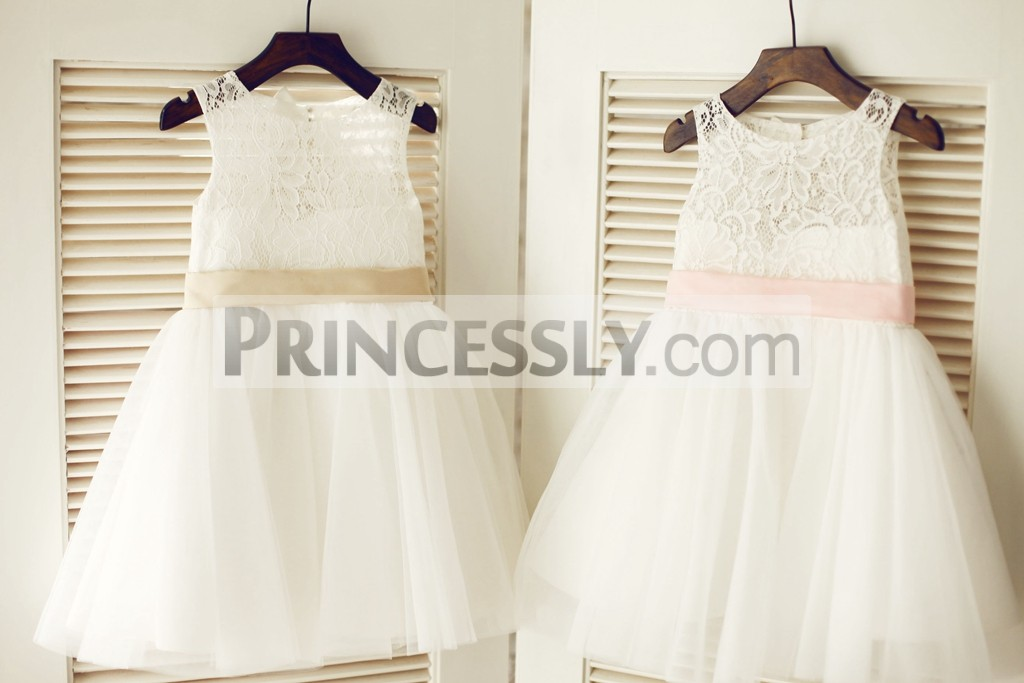 7dfabd24ad Keyhole Ivory Lace Tulle Flower Girl Dress with Champagne   Pink Bow ...