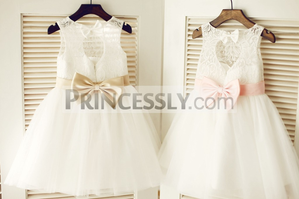 70c1d730f70 Keyhole Ivory Lace Tulle Flower Girl Dress with Champagne   Pink Bow ...