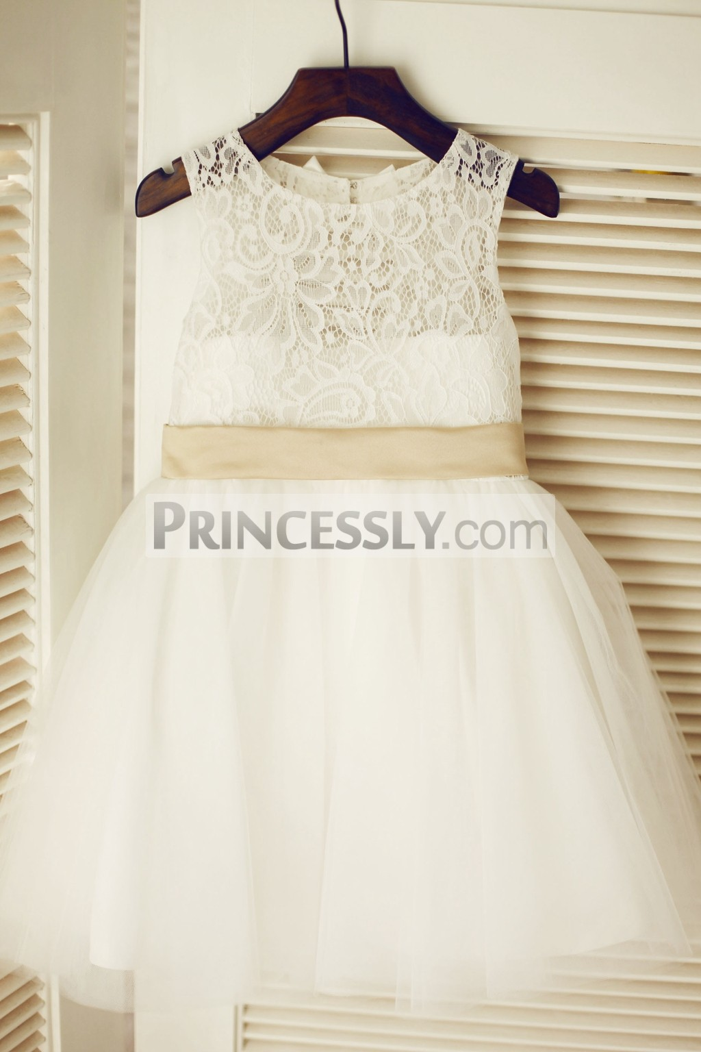 Sheer lace ivory tulle flower girl dress