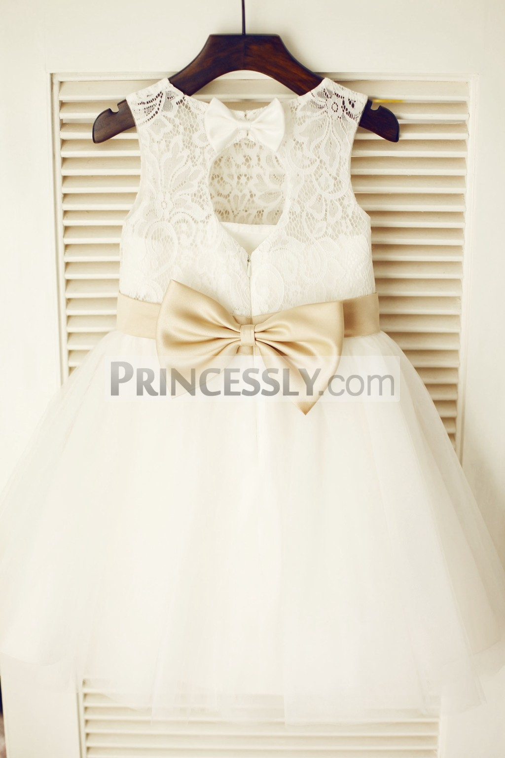 Keyhole Ivory Lace Tulle Flower Girl Dress With Champagne