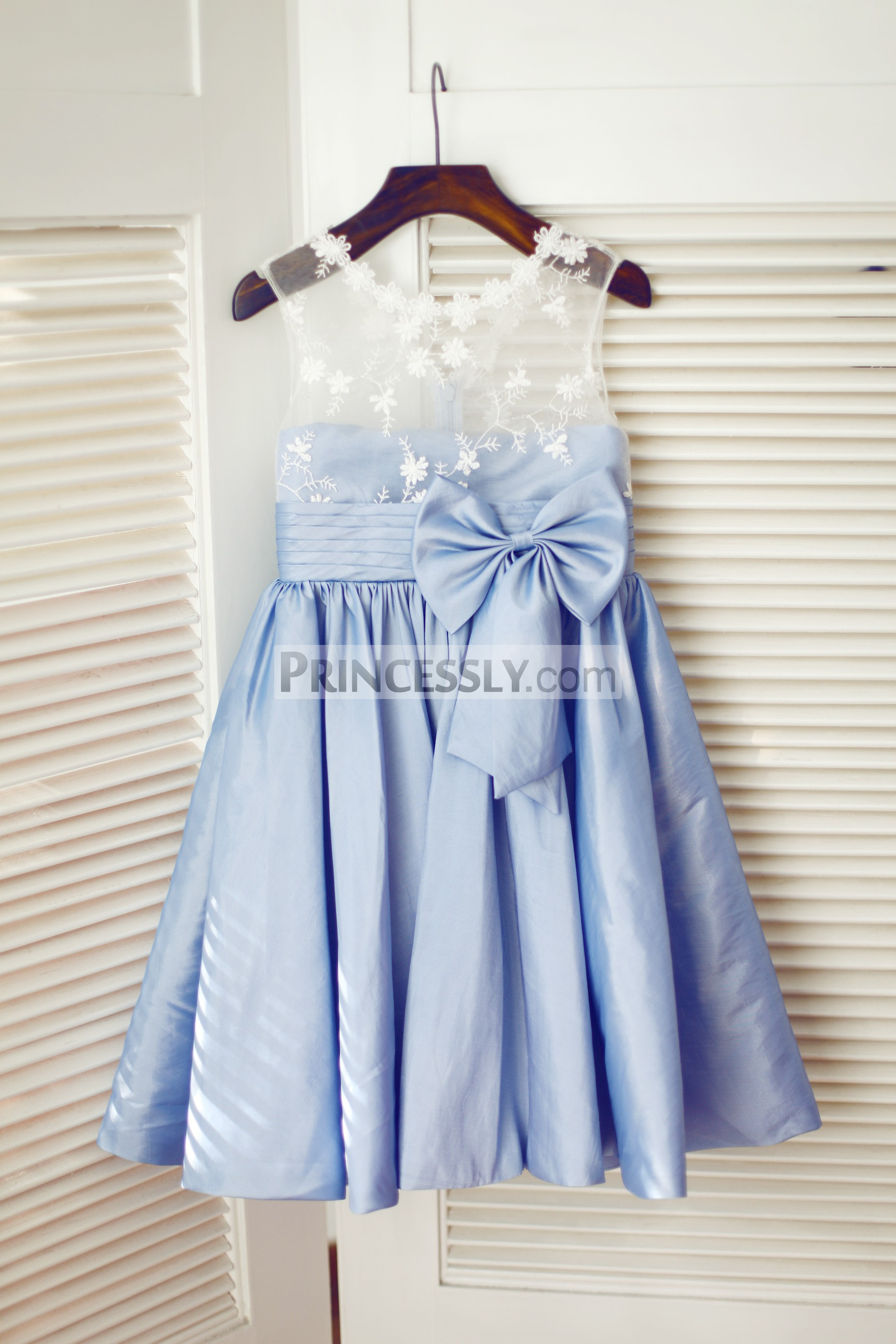 a273f7070 Sheer Ivory Lace Blue Taffeta Wedding Flower Girl Dress with Bow ...