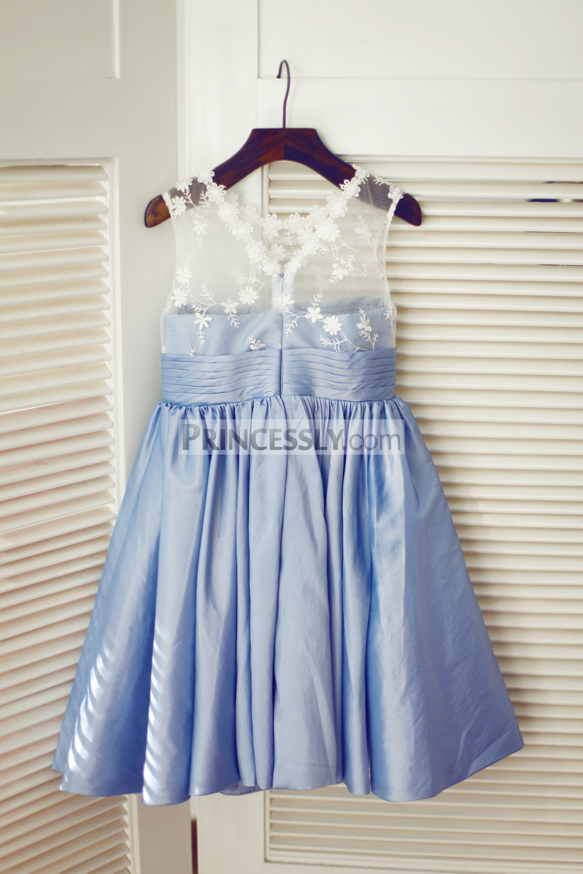 Ivory sheer lace blue taffeta wedding baby girl dress