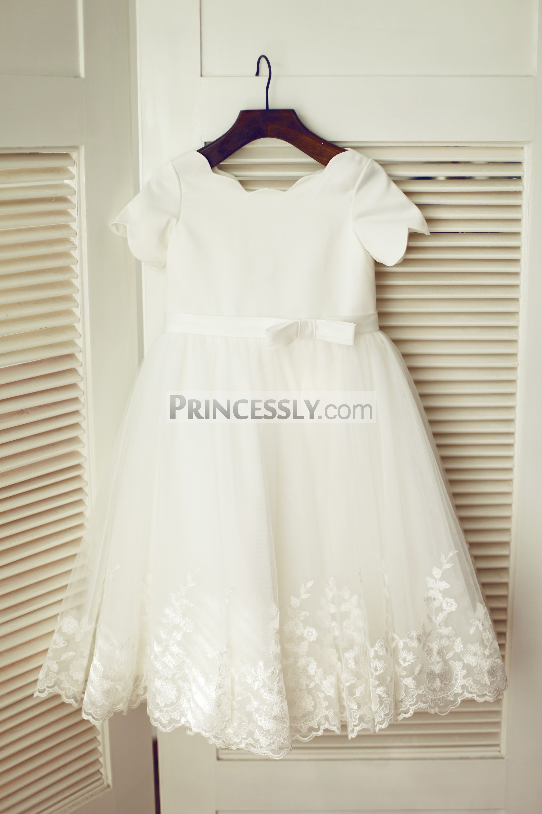 Ivory satin tulle lace flower girl dress with belt and bow