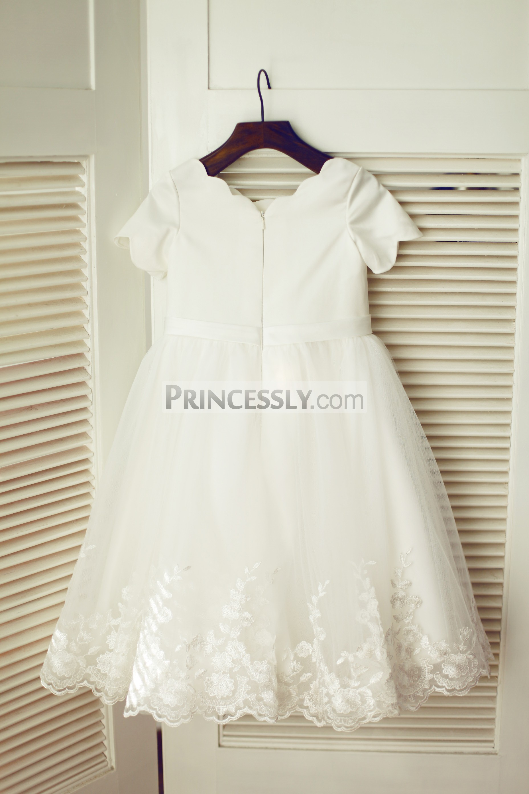 Ivory Satin Tulle Wedding Baby Girl Dress