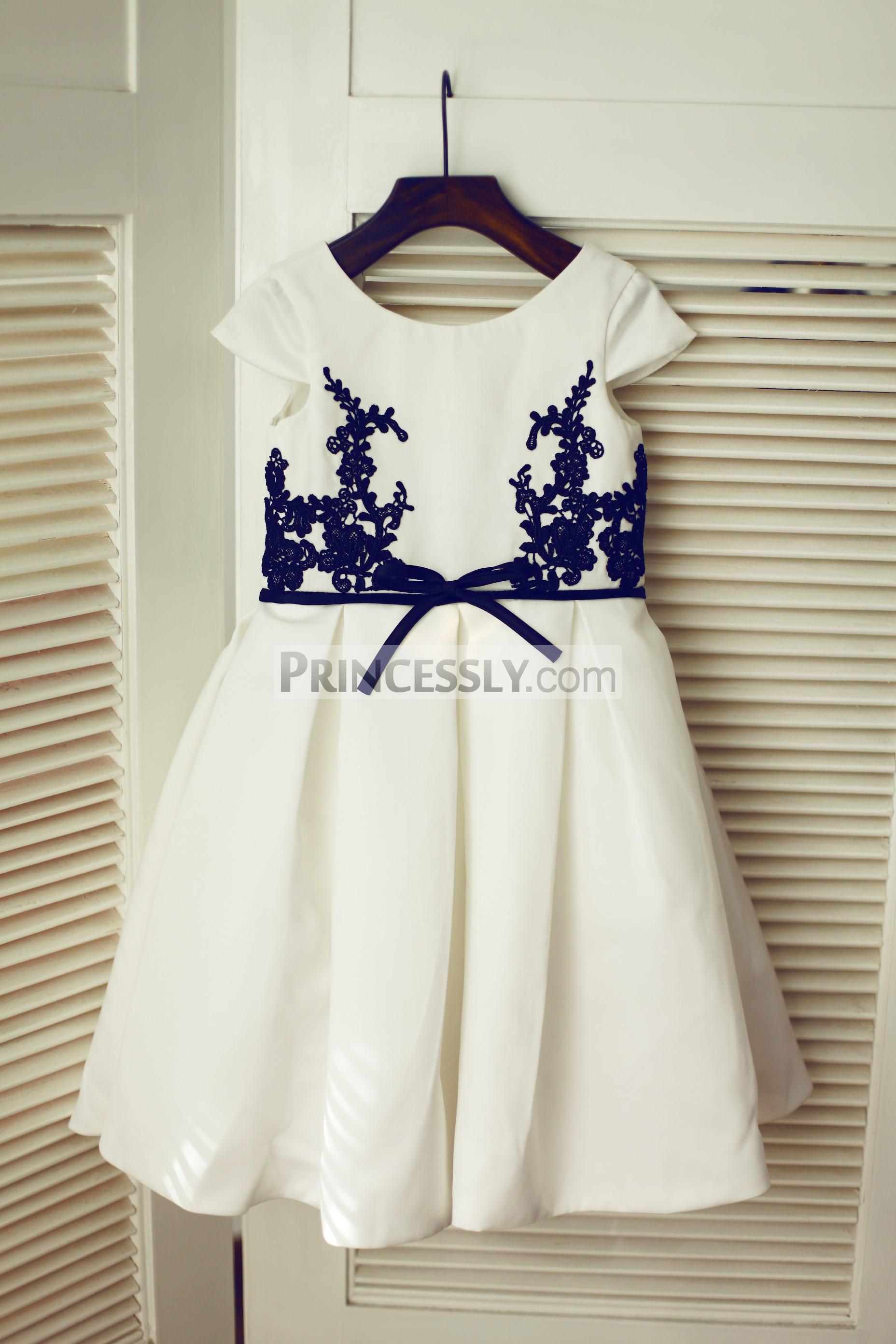 Navy blue lace ivory satin flower girl dress