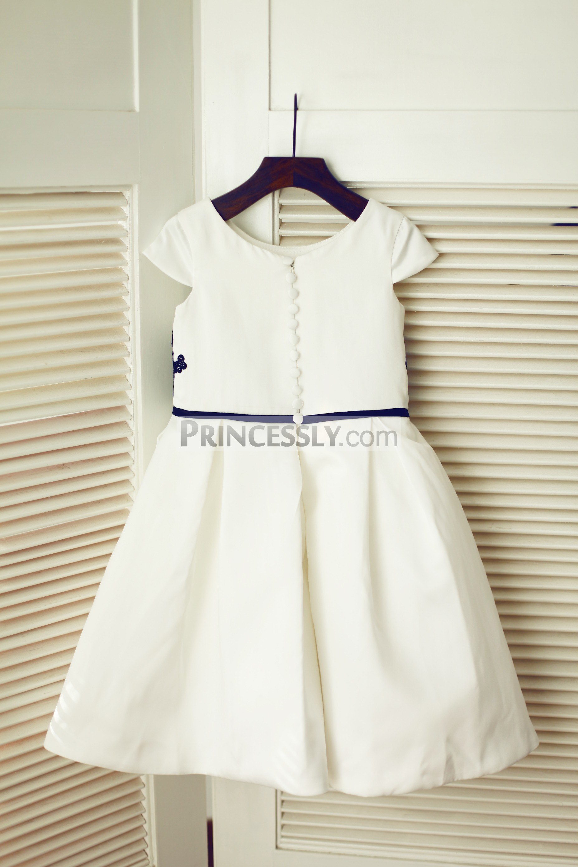 Buttoned zipper back ivory satin wedding baby girl dress