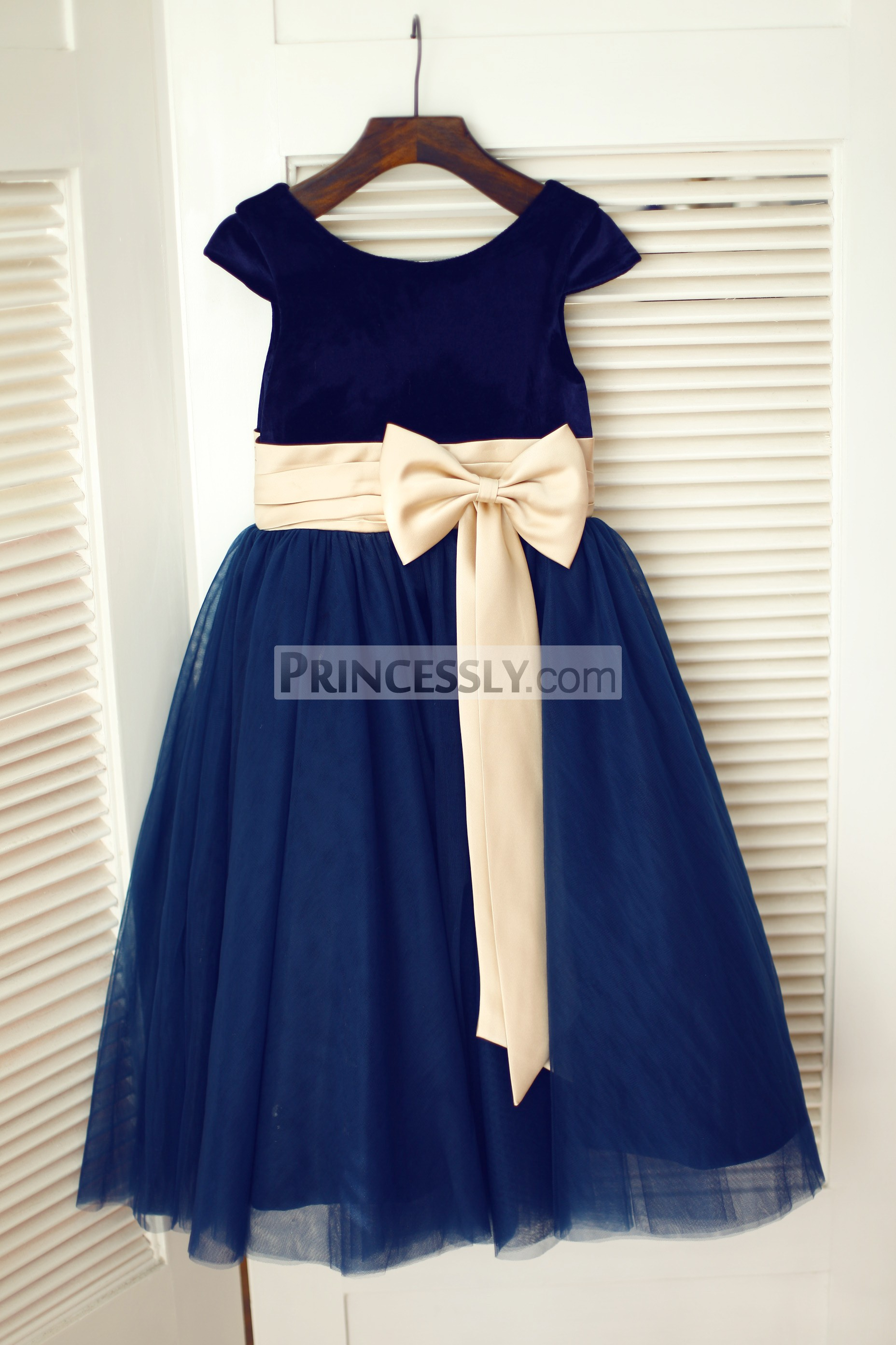 Navy Blue Velvet Tulle Cap Sleeve Flower Girl Dress With