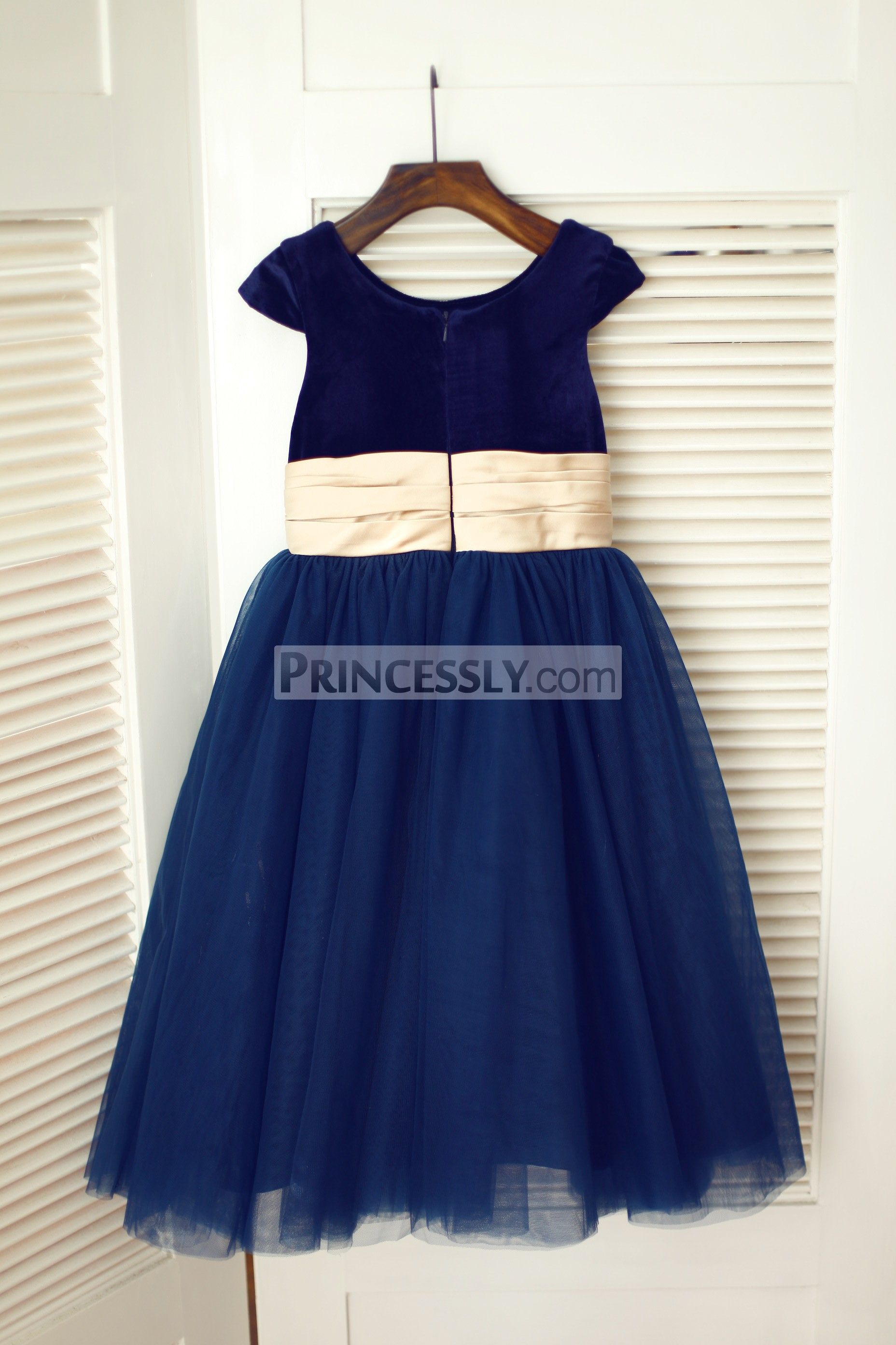 Navy blue velvet tulle cap sleeve flower girl dress with for Blue sash for wedding dress