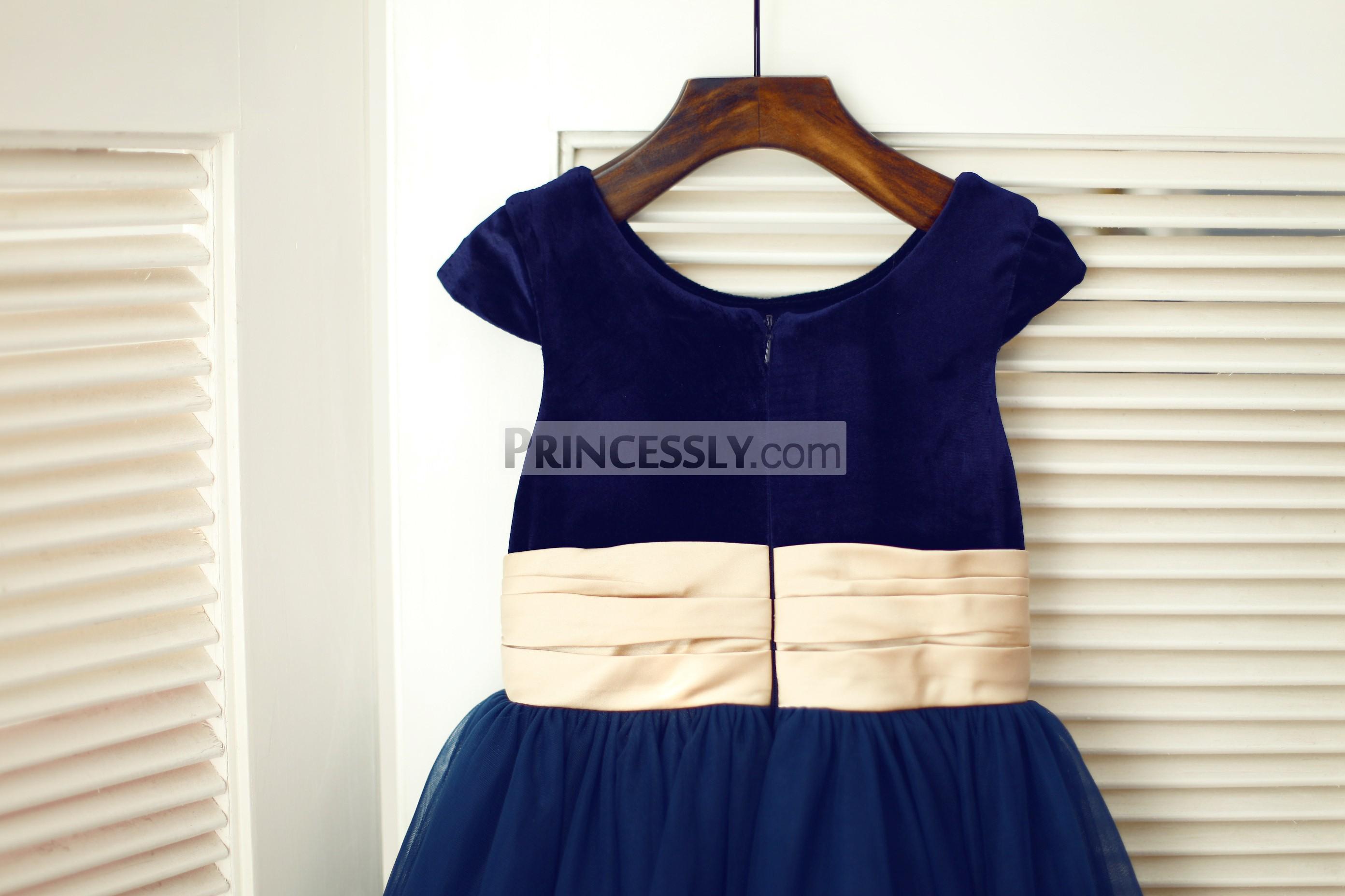 Navy blue velvet bodice with zipper back