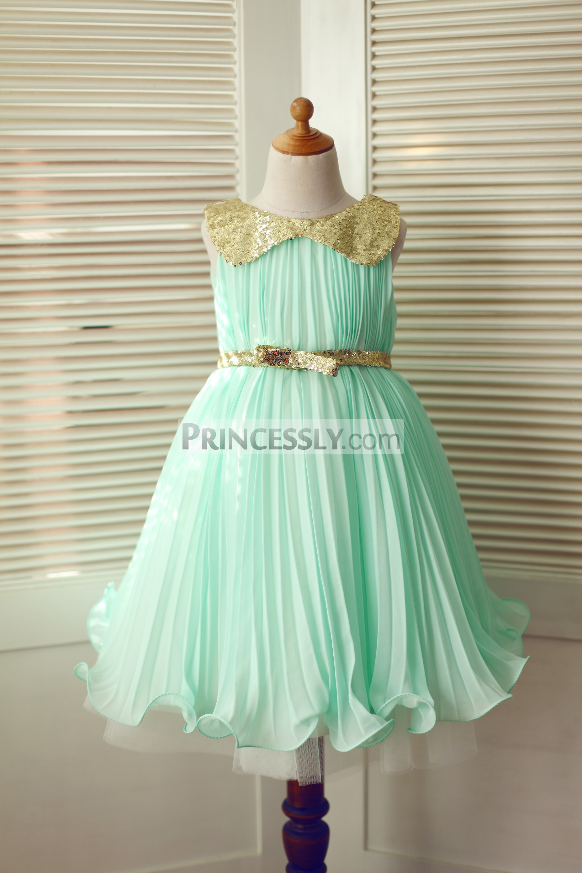 41249f40fa29 Mint Green Chiffon Gold Sequin Peter Pan Collar & Belt Flower Girl ...