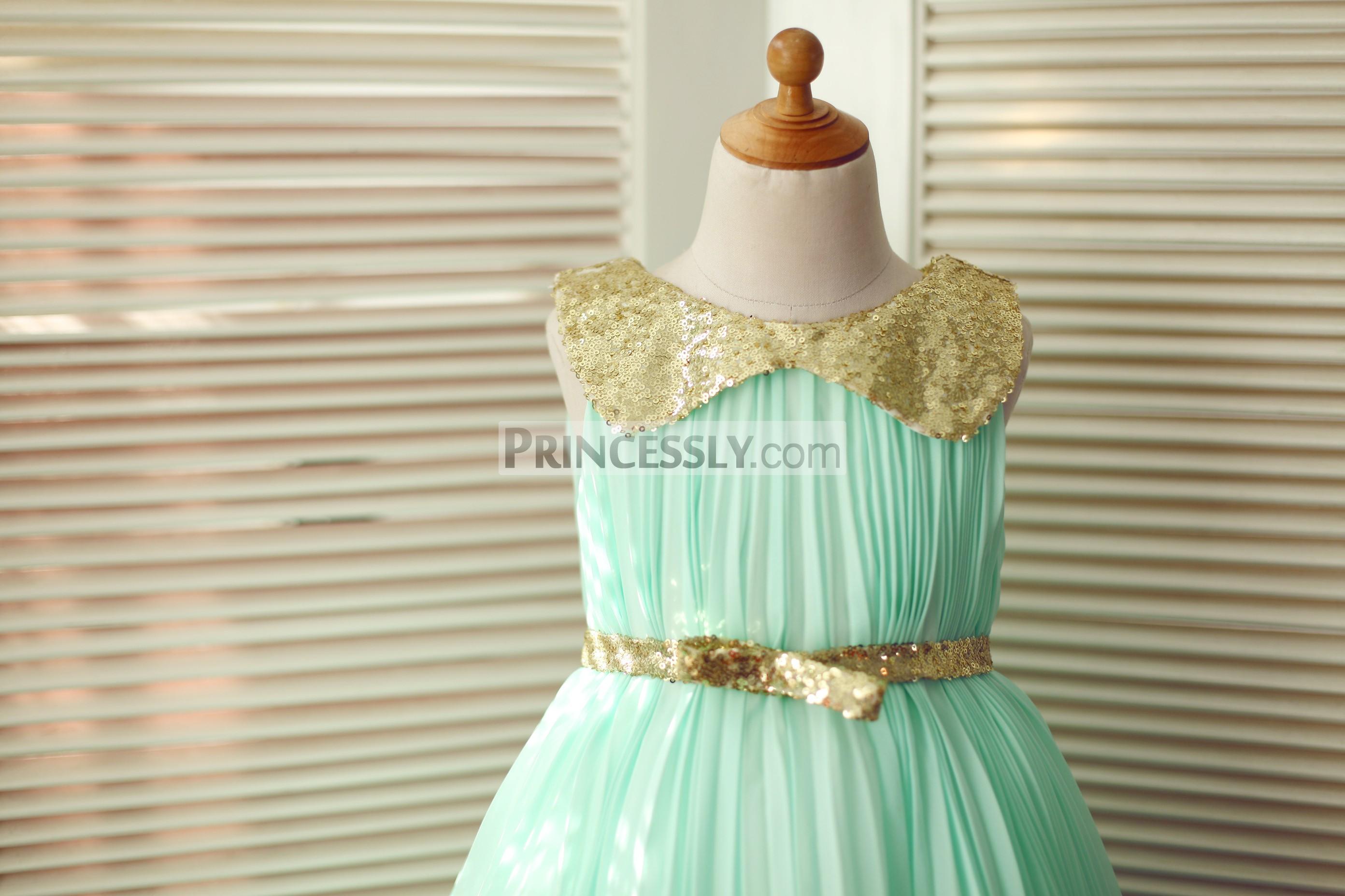 e3623d434e4 Mint green chiffon ivory tulle wedding baby girl dress. Gold sequin peter  pan collar and belt