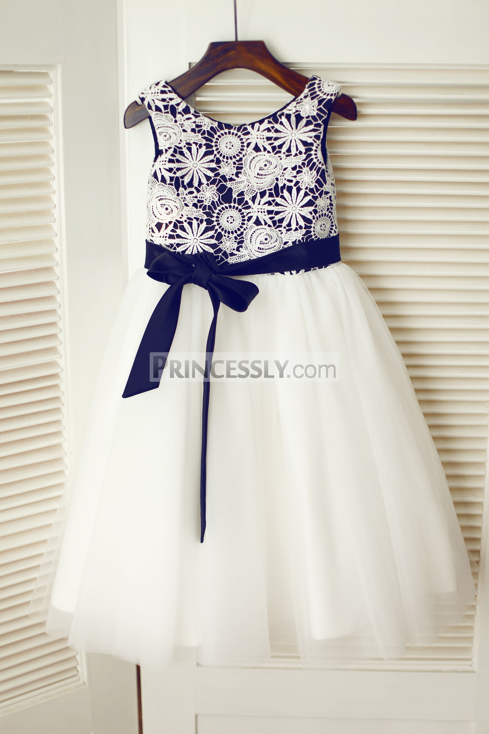 Ivory Crochet Lace Tulle Flower Girl Dress with Black Lining Sash