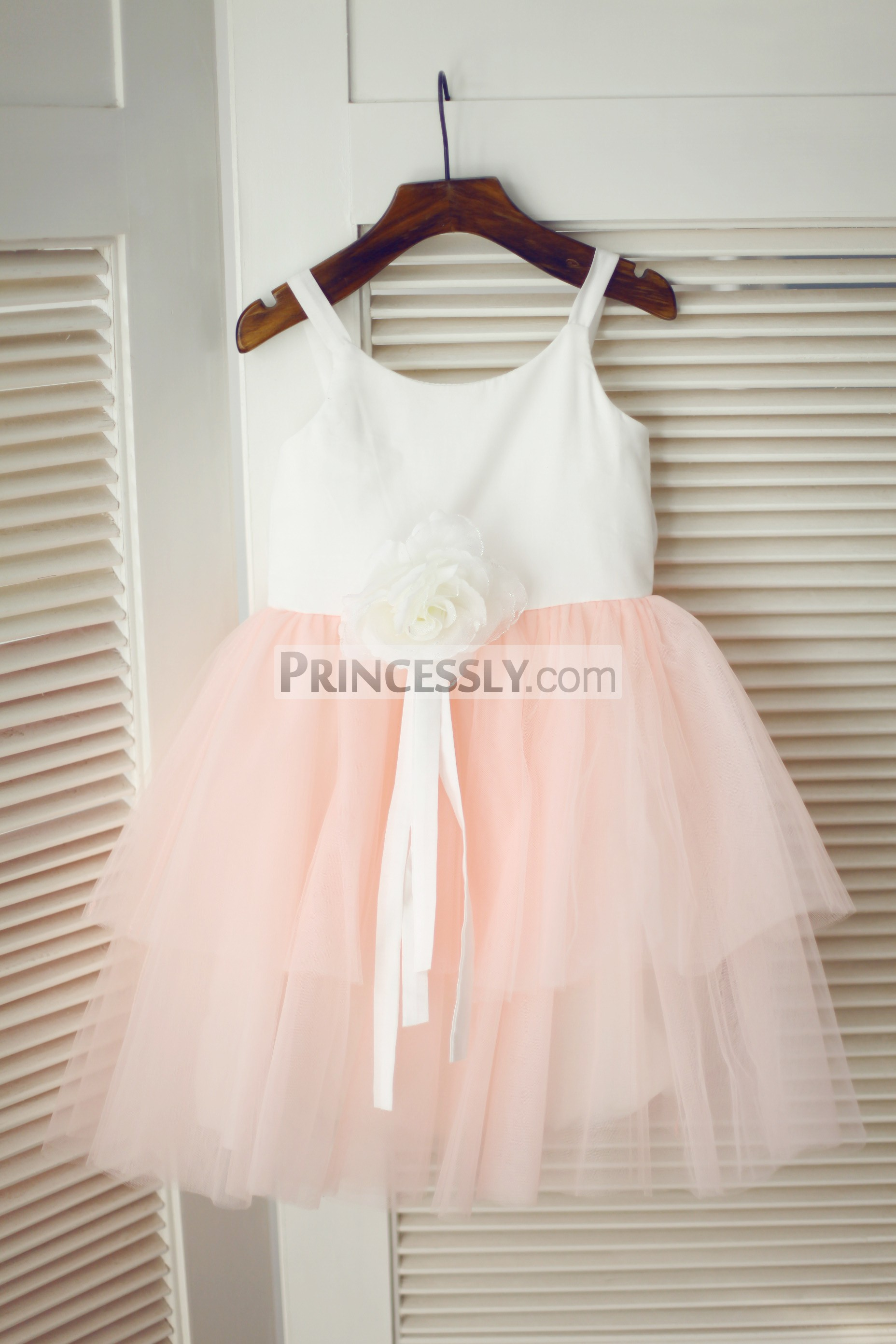 Ivory cotton pink tulle cupcake flower girl dress