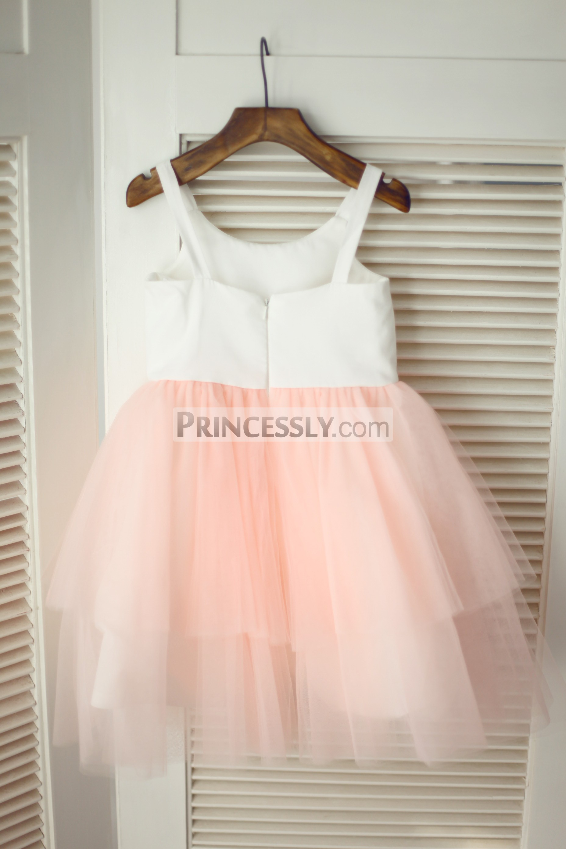Ivory cotton pink tulle wedding baby girl dress
