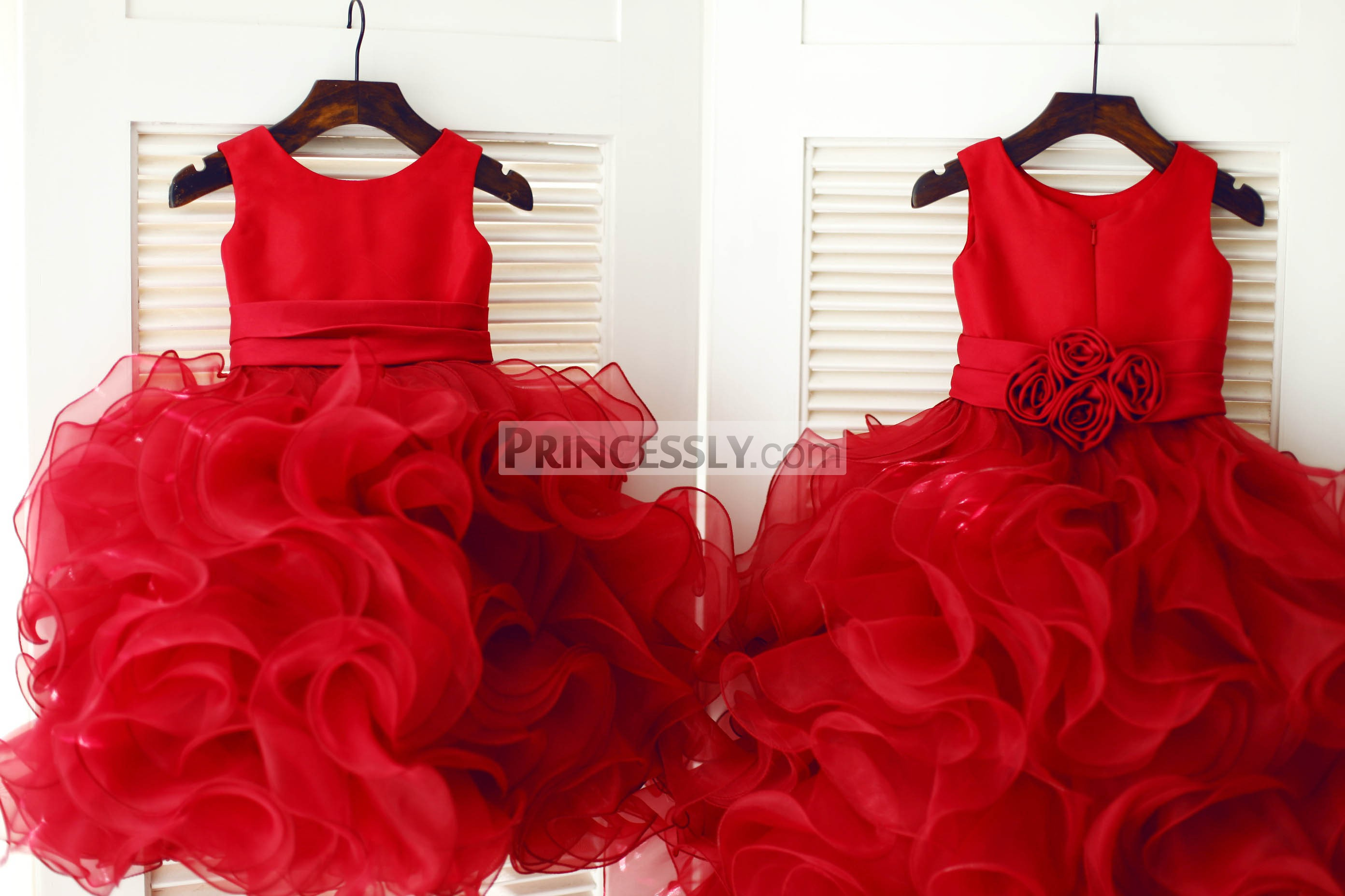 Red Satin Organza Ball Gown Flower Girl Dress