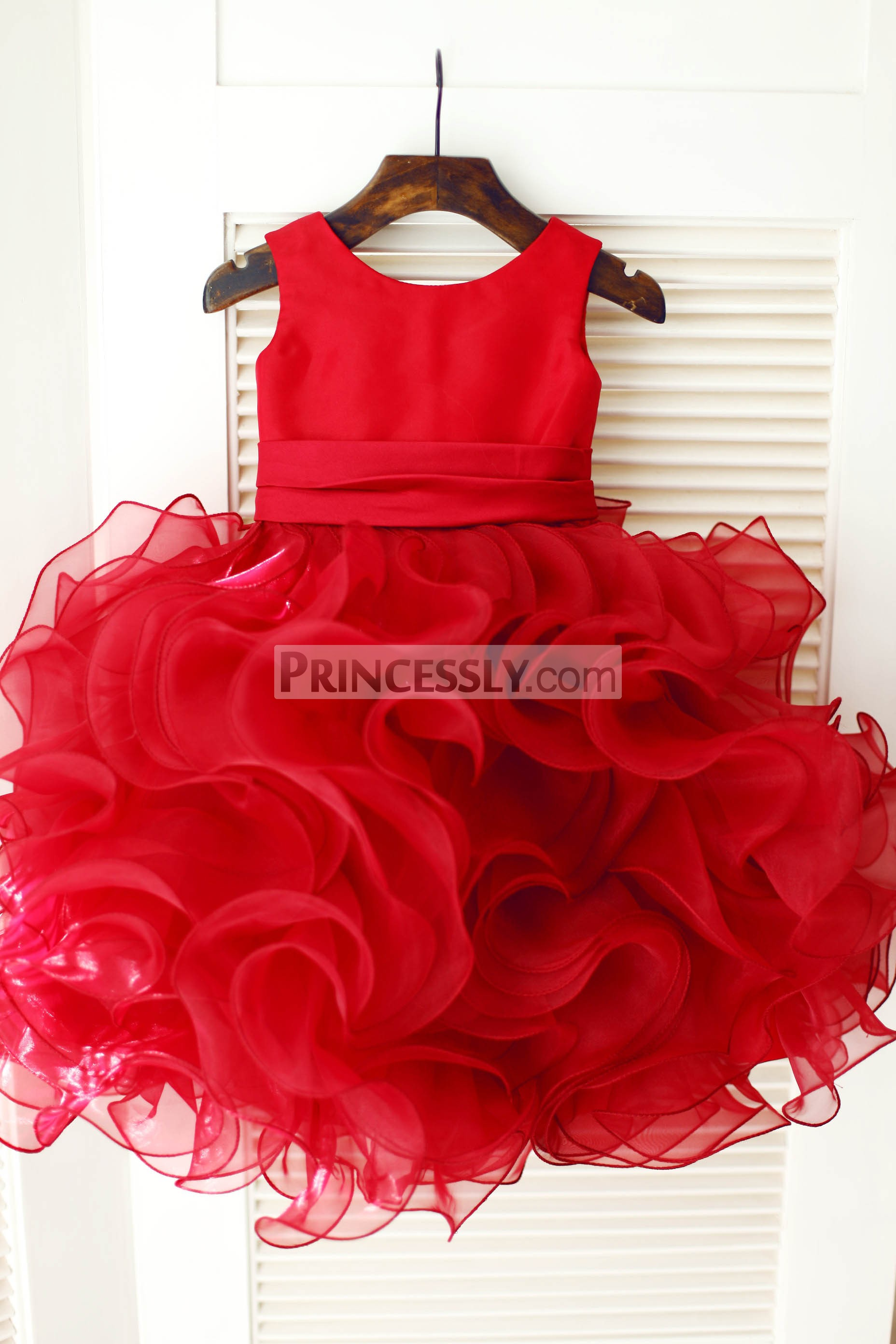 Ruffled Organza Skirt With Embroidered And Beaded Bodice: Red Satin Ruffles Organza Ball Gown Flower Girl Dress