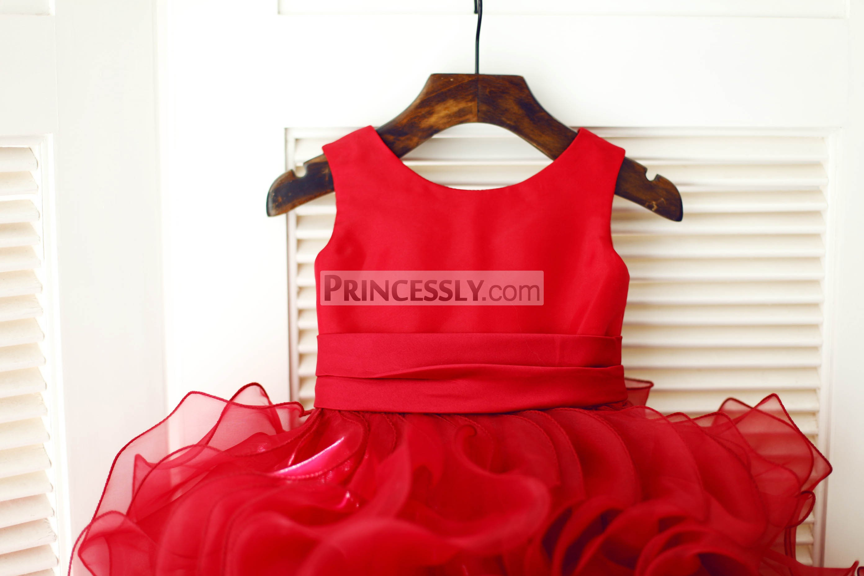 Red Satin Panel Bodice with Pleated Belt