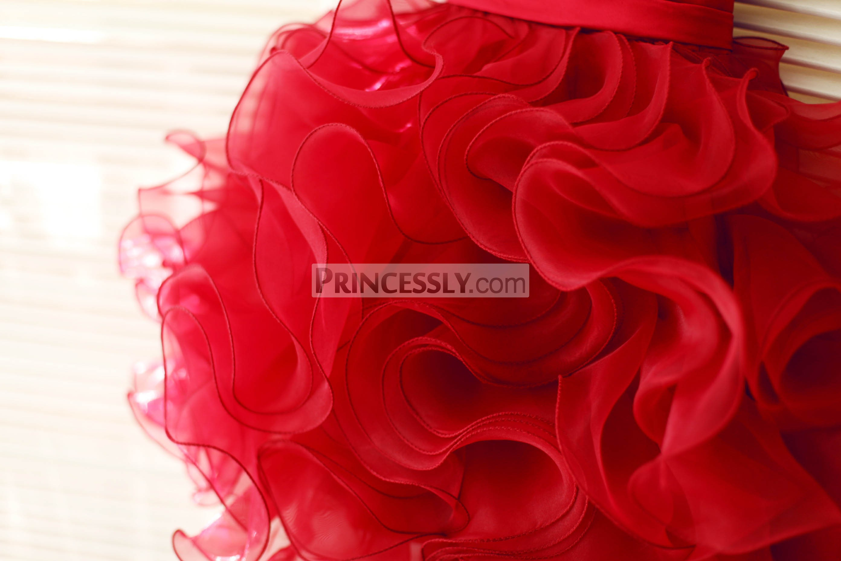 Romantic Red Organza Ruffles Skirt
