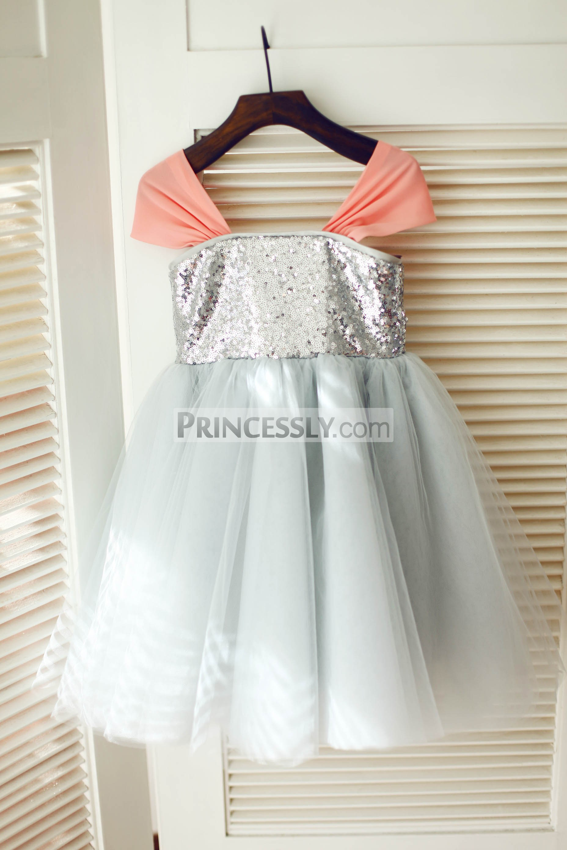 Coral chiffon silver sequin gray tulle flower girl dress