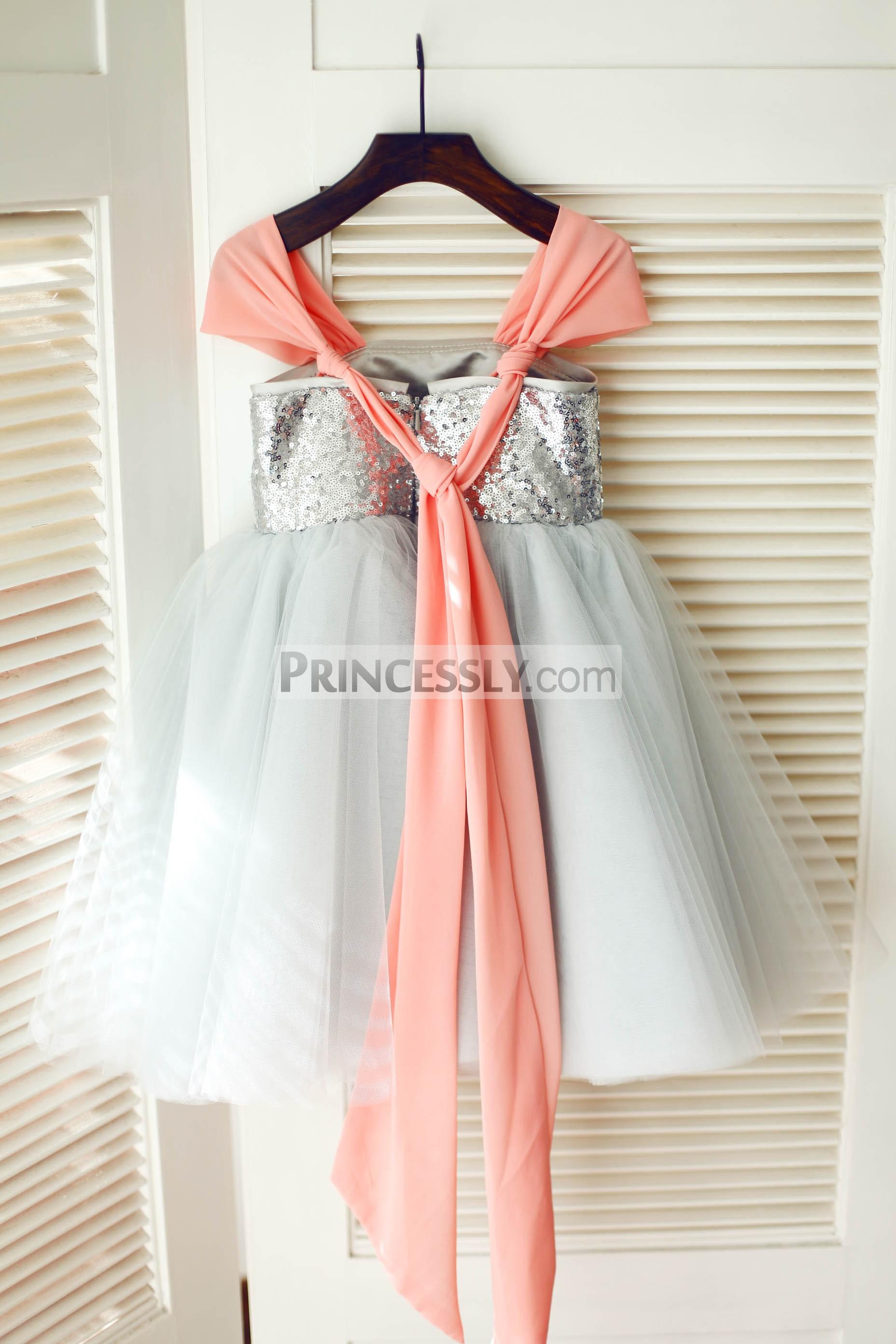 Super long chiffon straps gray tulle wedding baby girl dress