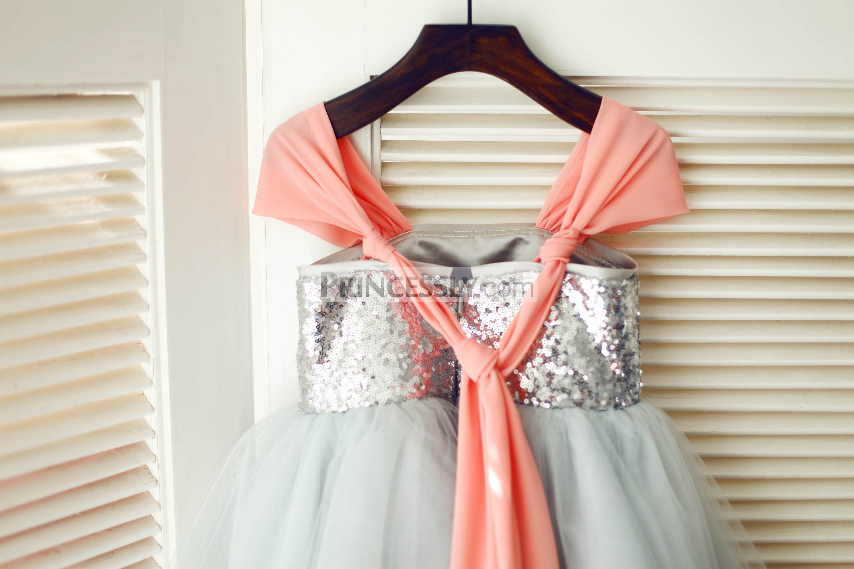 Knotted coral chiffon straps & silver sequins zipper back