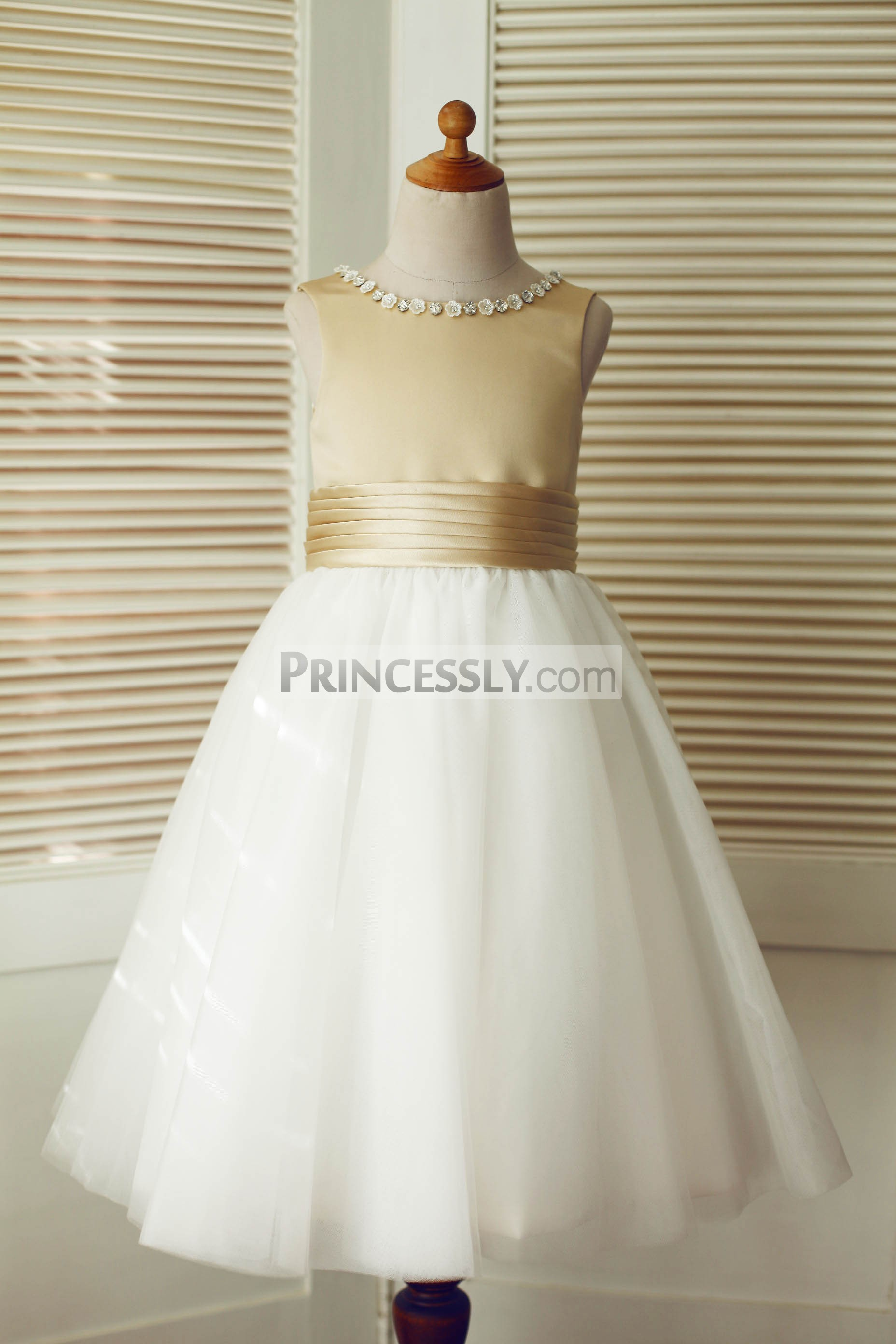 d59c98cce61 Champagne Satin Ivory Tulle Flower Girl Dress with Beaded Neck