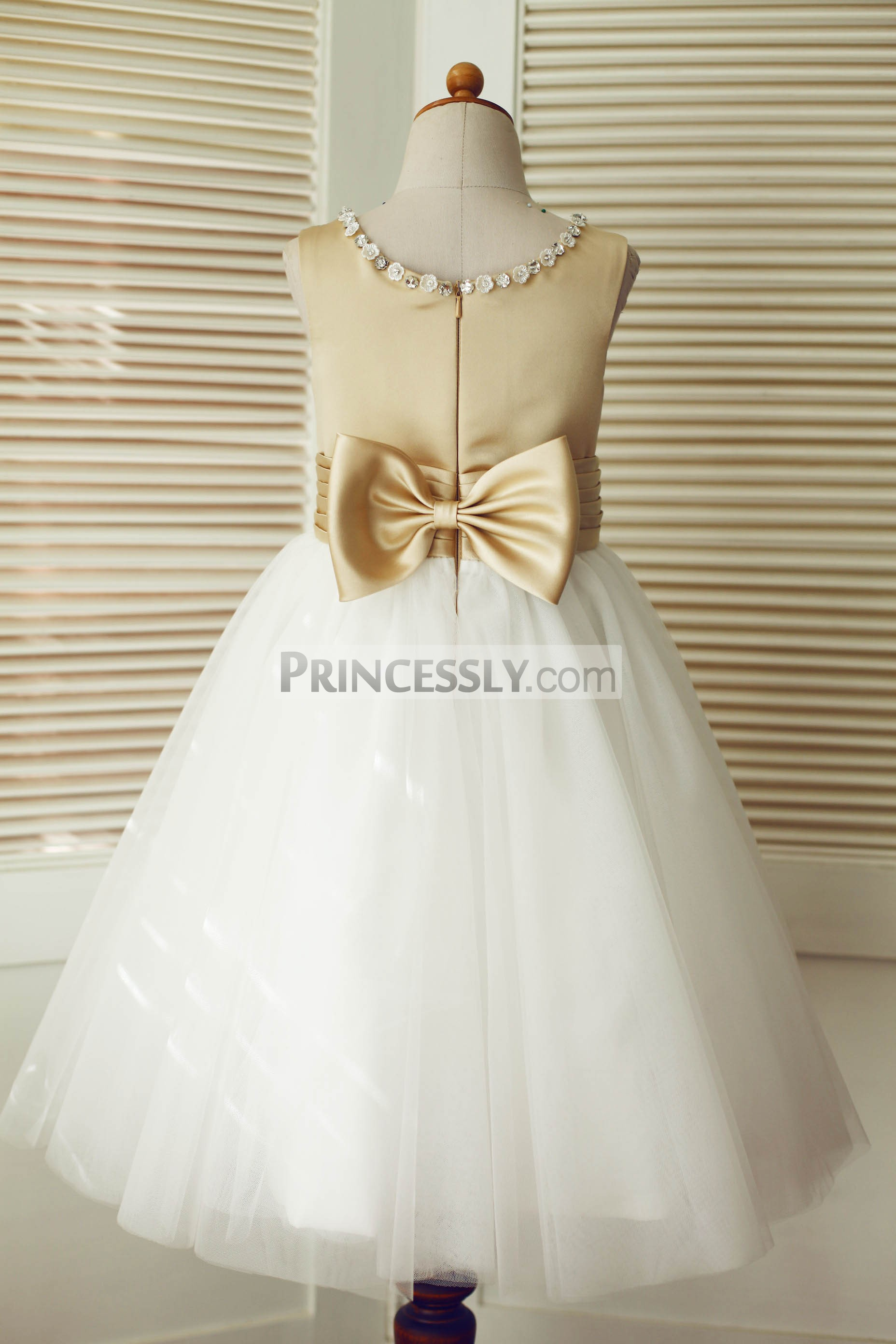 Champagne satin ivory tulle wedding baby girl dress