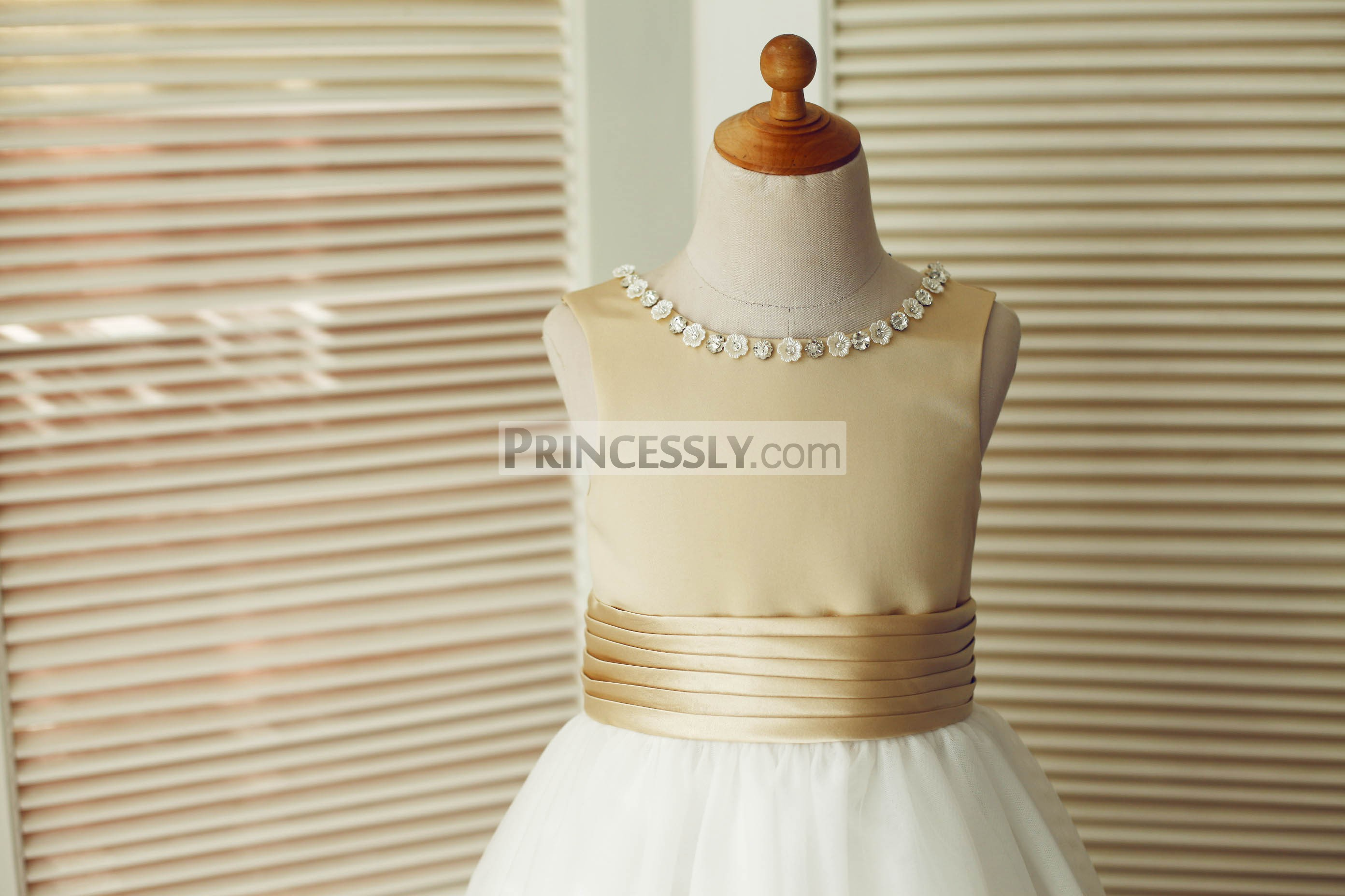 Beaded round neckline of panel bodice with pleated waistband