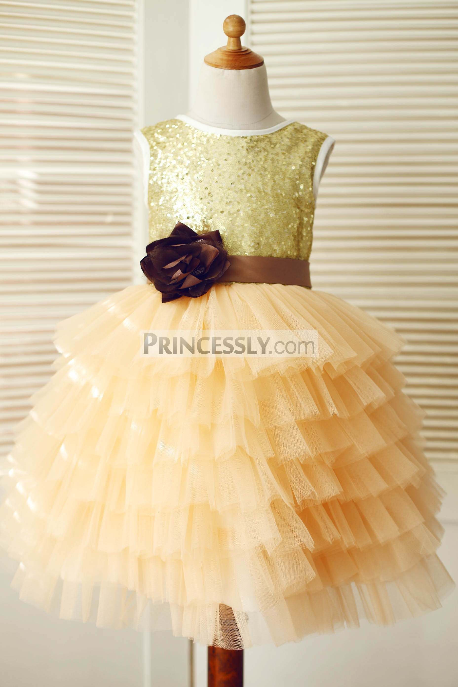 7f690afa966 Gold sequin champagne tulle cupcake flower girl dress. Gold sequins tulle  skirt wedding baby girl dress with sash